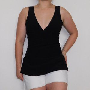 NEW theory petite black structured tank blouse